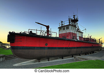 Red Fireboat - traditional fireboat on display in tacomas...