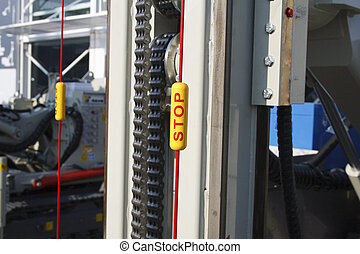 emergency stop - Detail of a drilling tools for oil...