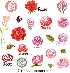 Roses design elements  - Set of rose flower design elements