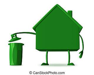 %u0421ottage character with rubbish bin - Green cottage...