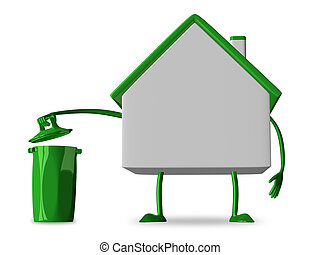 White cottage character with rubbish bin isolated