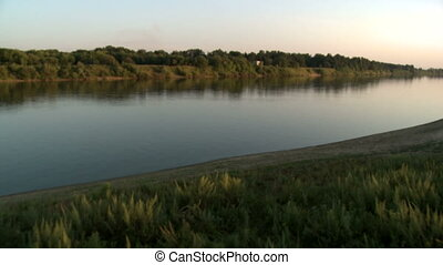 Top view of river shore during sunset - Top view of river...