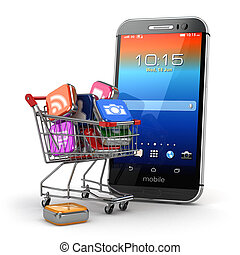 Mobile apps concept. Application software icons in shopping...