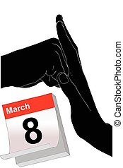 March 8 to Stop Violence Against Women - Illustration...