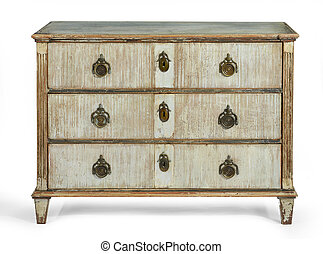 old antique French European painted chest of drawers - old...