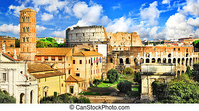 Beautiful antique Rome - View of old city