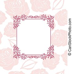 Ornamental frame on seamless background with stylized roses...