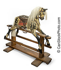 rocking horse for children - old antique carved wooden...