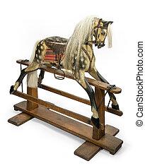 rocking horse for children - old antique carved wooden...