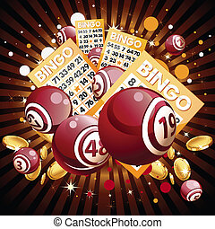 Bingo or lottery balls and cards on shiny background. -...