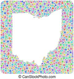 Decorative Map of Ohio - USA -