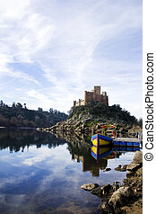 Almourol castle located on Tejo river