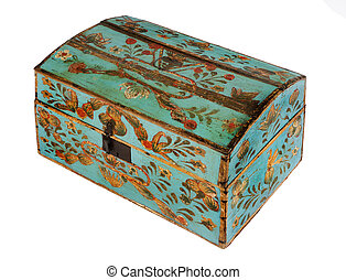 old original antique European painted chest or trunk...