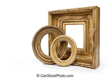 gold guilded oval and rectangular
