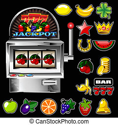 A vector slot fruit machine with cherry winning on cherries...