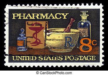 farmácia, 19o, século, medicina,
