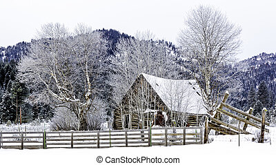Rustic cabin in the snow with a fence
