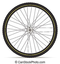 mountain bike wheel - Mountain bike wheel on a white...
