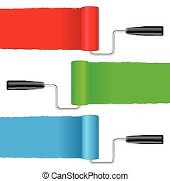 paint rollers - Paint roller set on a white background.