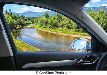 landscape with river from car window - beautiful landscape...