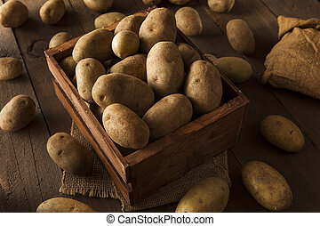 Organic Raw Brown Potatoes in a Basket