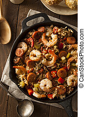 Spicy Homemade Cajun Jambalaya with Sausage and Shrimp