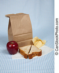Students Sack Lunch - A students sack lunch with a peanut...