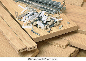 Assembling furniture - Close up of assembly furniture kit
