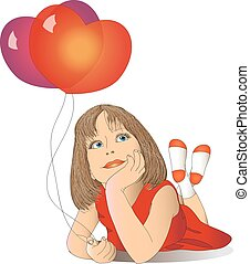 girl with balloons in a red dress