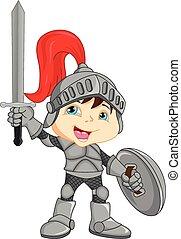 Cartoon knight boy - illustration of Cartoon knight boy