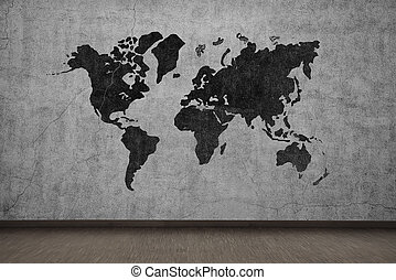 world map - drawing world map on gray concrete wall