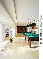 Pool table inside modern house - View of pool table inside...