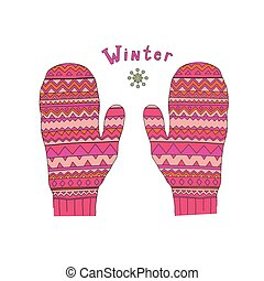 mittens - colored fashion winter mittens vector illustration...
