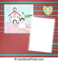 First Holy Communion invitation brown girl
