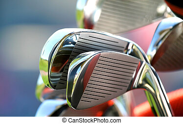 Golf Clubs - Many new shiny golf clubs ready to play