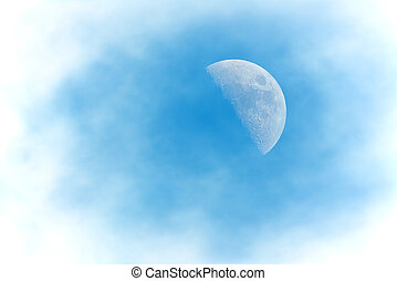 Half Moon Phase during day with clouds - Half Moon Phase...