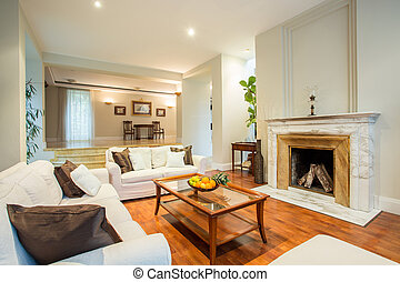 Living room with fireplace - View of living room with...
