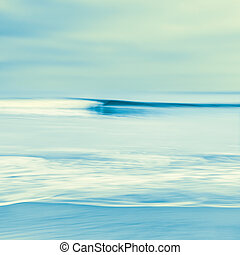 Blurred Wave in Blue - An abstract seascape with blurred...