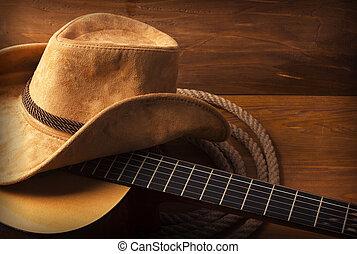 país, Música, Plano de fondo, con, guitarra,