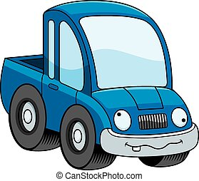 Crazy Cartoon Pickup Truck - A cartoon illustration of a...
