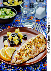 mackerel with garlic and lemon marinated Moroccan dish...