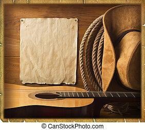 norteamericano, vaquero, país, Música, Plano...