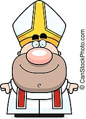 Happy Cartoon Pope - A cartoon illustration of a pope...