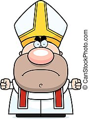 Angry Cartoon Pope - A cartoon illustration of a pope with...