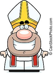 Cartoon Pope Smiling - A cartoon illustration of a pope...