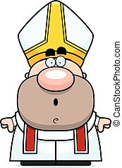Surprised Cartoon Pope - A cartoon illustration of a pope...