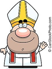 Waving Cartoon Pope - A cartoon illustration of a pope...