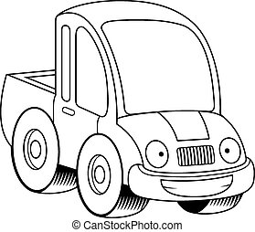 Happy Cartoon Pickup Truck - A cartoon illustration of a...