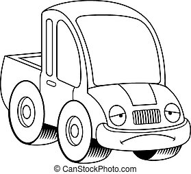 Sad Cartoon Pickup Truck - A cartoon illustration of a...