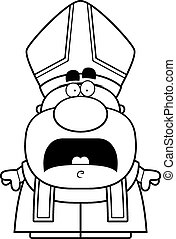 Scared Cartoon Pope - A cartoon illustration of a pope...